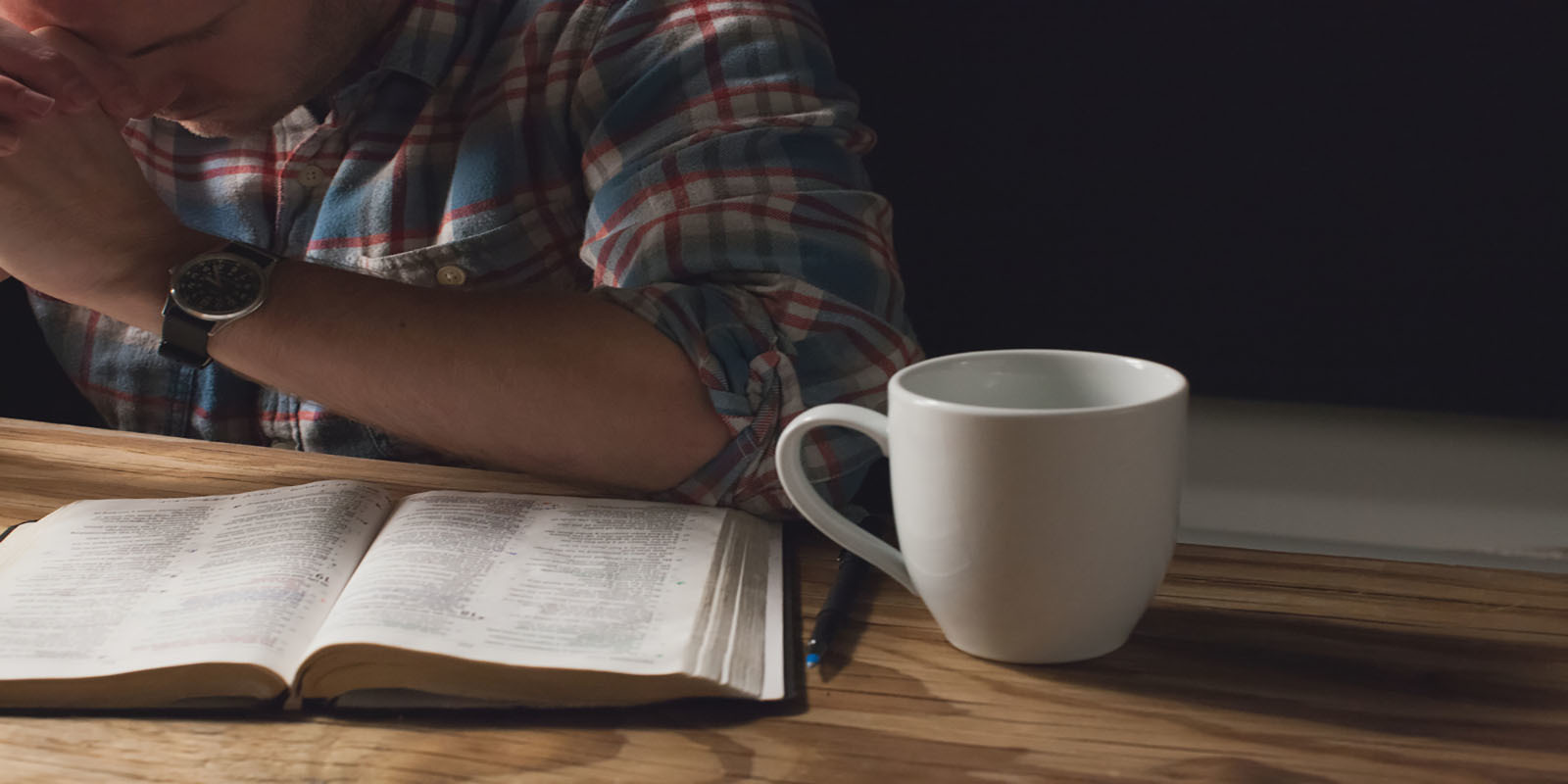 Man With Bible And Coffee For Web